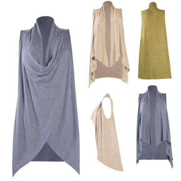 Versatile Long Draped Cardigan Vest Blue Tan 50515f9ca